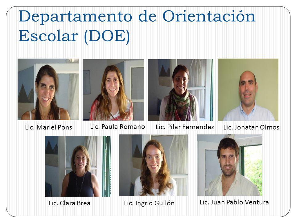 Departamento de Orientación Escolar (DOE) Lic. Mariel Pons Lic.