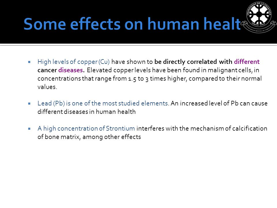 High levels of copper (Cu) have shown to be directly correlated with different cancer diseases.