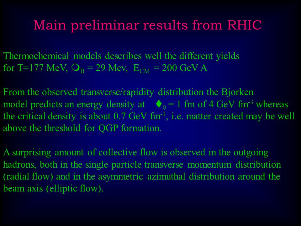 Expected phase diagram for hadron matter RuesterRuester, Werth,, Buballa, Shovkovy, RischkeWerthBuballaShovkovyRischke RHIC
