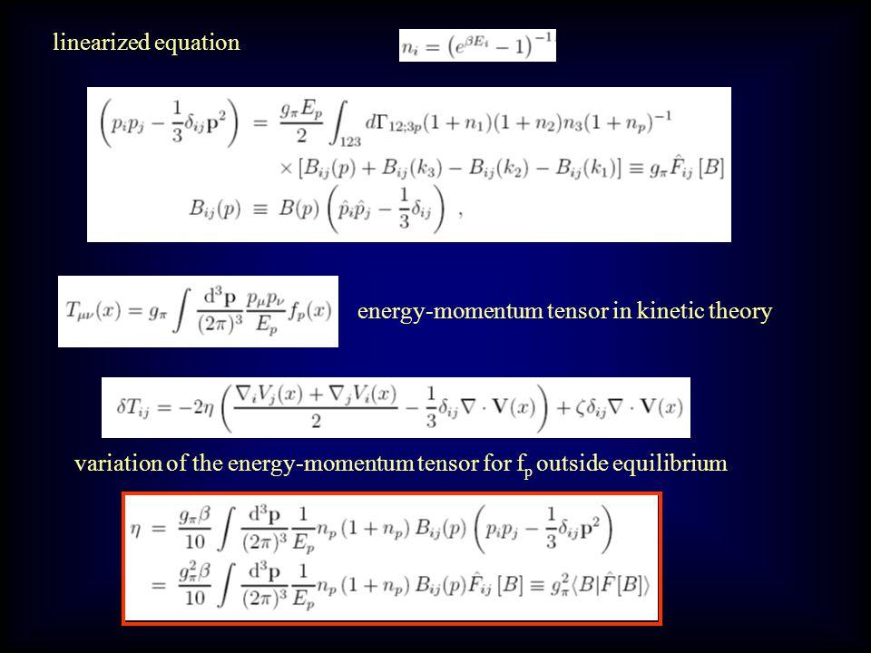 Kinetic theory computation of viscosity: distribtuion function Boltzmann ( Uehling-Uhlenbenck) Equation thermal distribution Chapman-Enskog