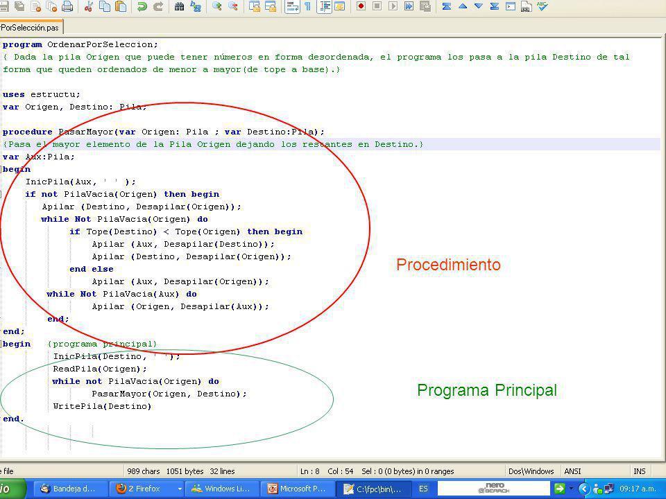 Procedimiento Programa Principal