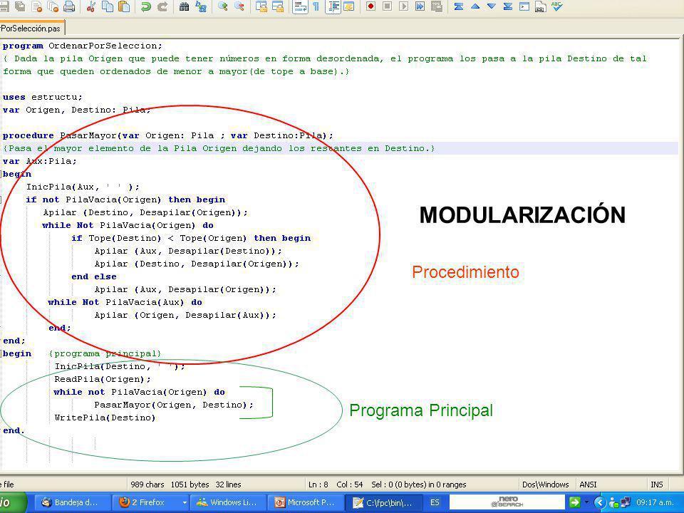 Procedimiento Programa Principal MODULARIZACIÓN