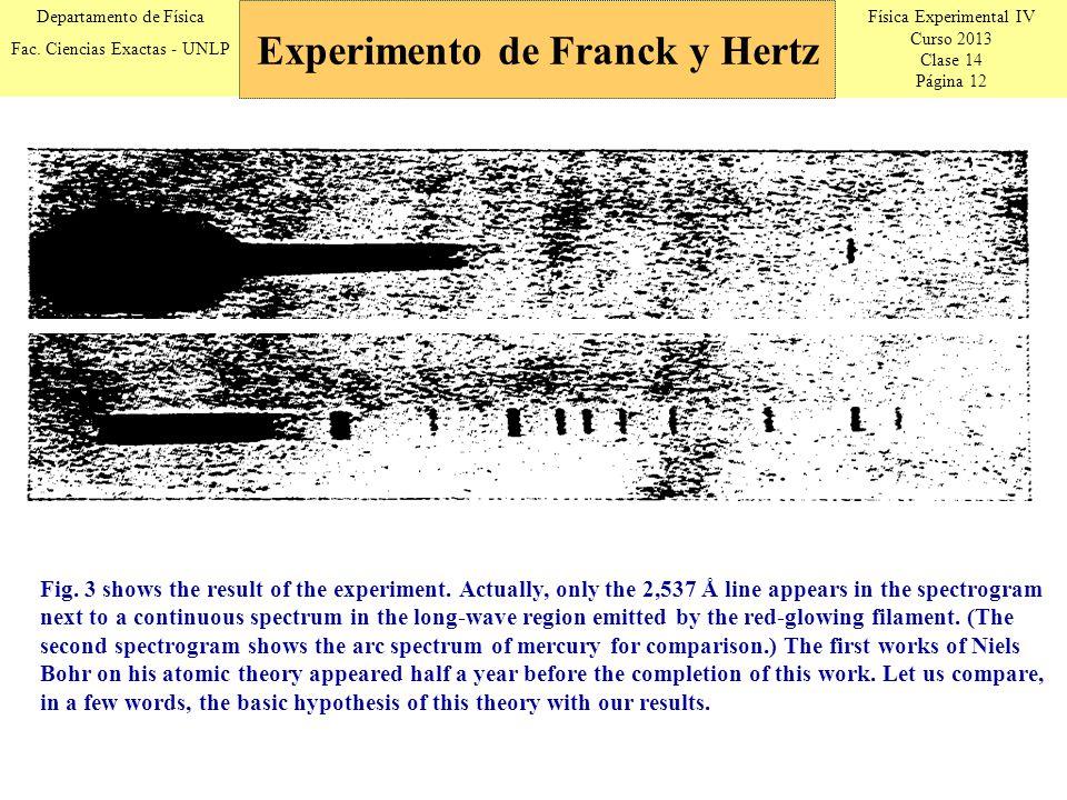 Física Experimental IV Curso 2013 Clase 14 Página 12 Departamento de Física Fac. Ciencias Exactas - UNLP Experimento de Franck y Hertz Fig. 3 shows th