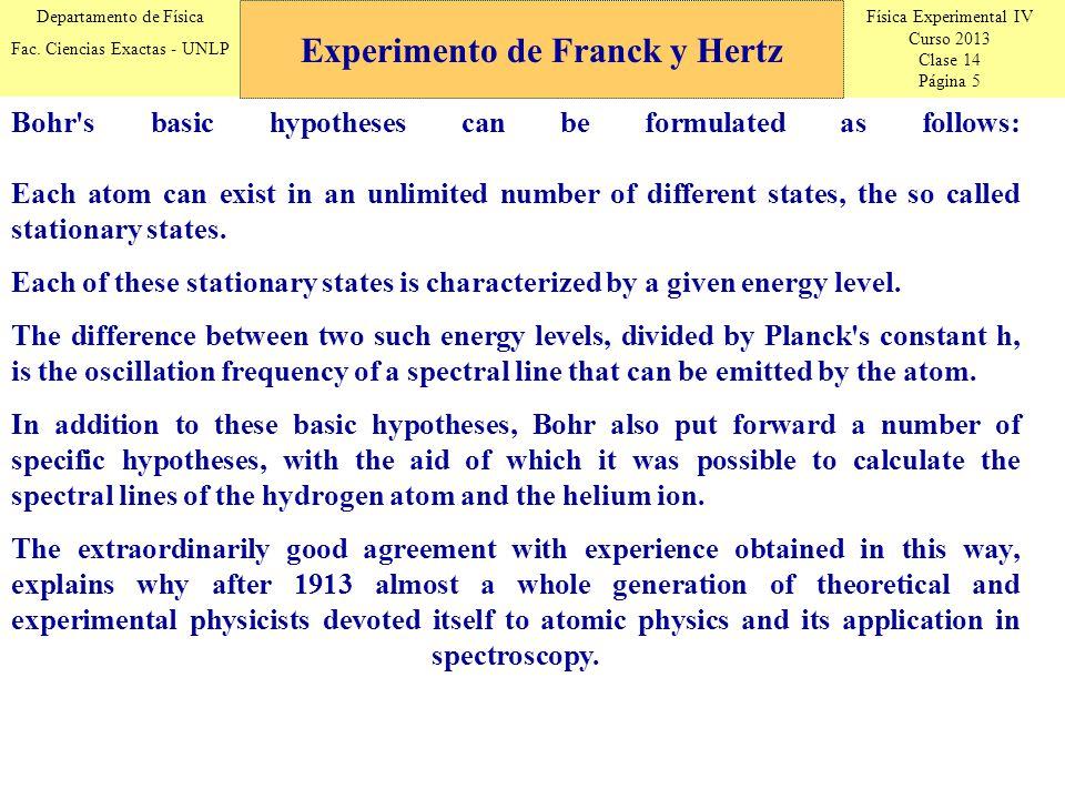Física Experimental IV Curso 2013 Clase 14 Página 5 Departamento de Física Fac. Ciencias Exactas - UNLP Experimento de Franck y Hertz Bohr's basic hyp