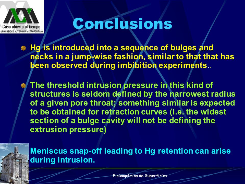 Conclusions Hg is introduced into a sequence of bulges and necks in a jump-wise fashion, similar to that that has been observed during imbibition expe
