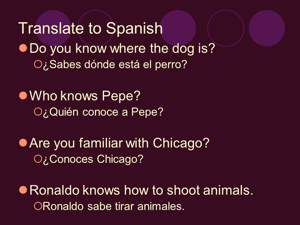 Translate to Spanish Do you know where the dog is? ¿Sabes dónde está el perro? Who knows Pepe? ¿Quién conoce a Pepe? Are you familiar with Chicago? ¿C
