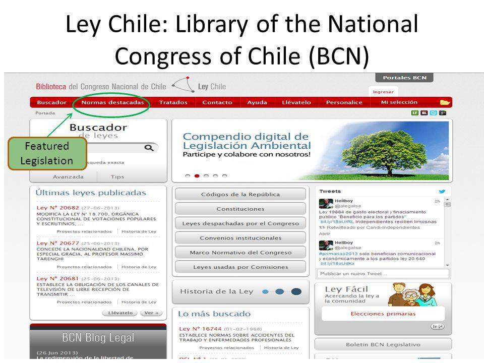 Ley Chile: Library of the National Congress of Chile (BCN) Featured Legislation