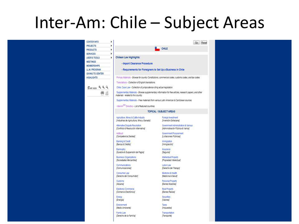 Inter-Am: Chile – Subject Areas