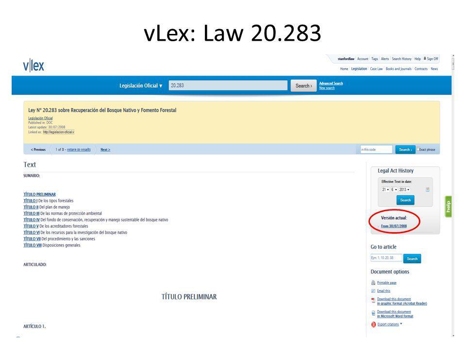 vLex: Law 20.283