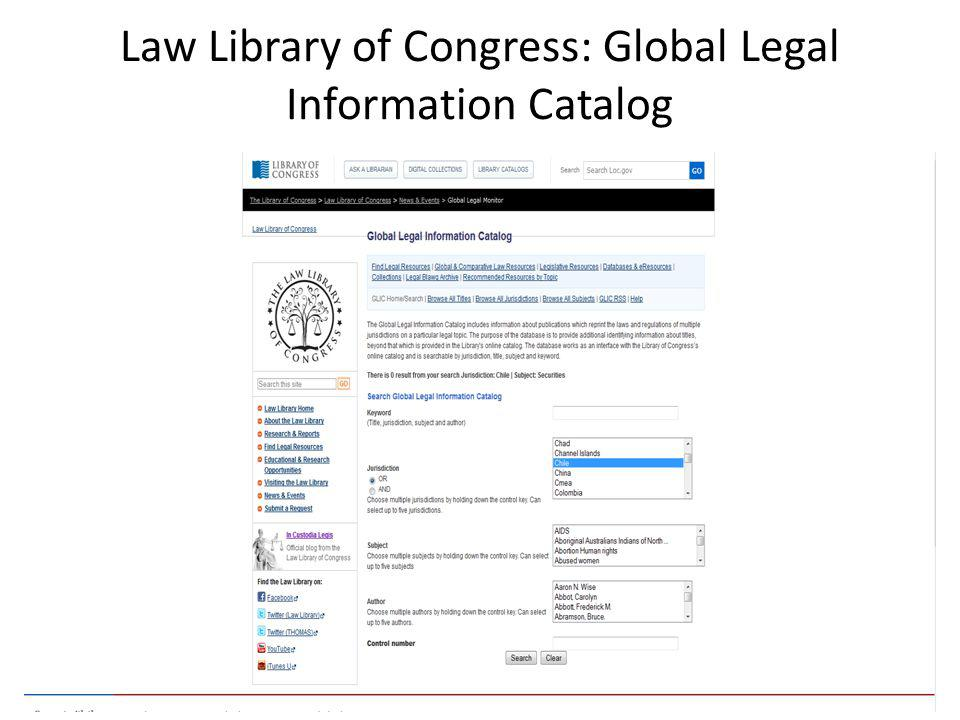 Law Library of Congress: Global Legal Information Catalog