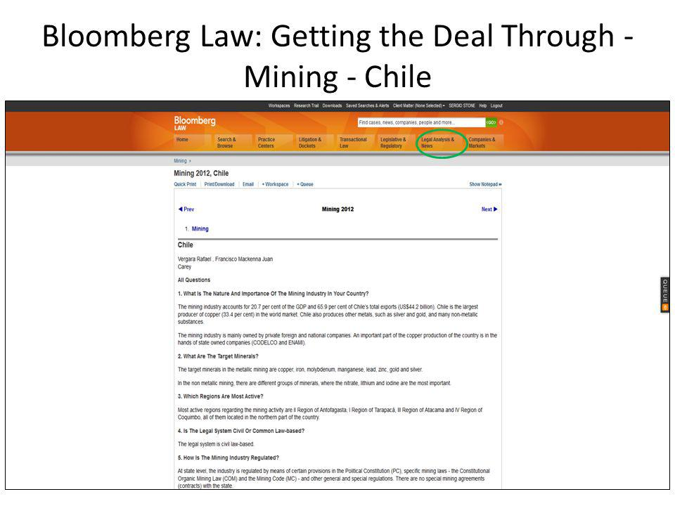 Bloomberg Law: Getting the Deal Through - Mining - Chile
