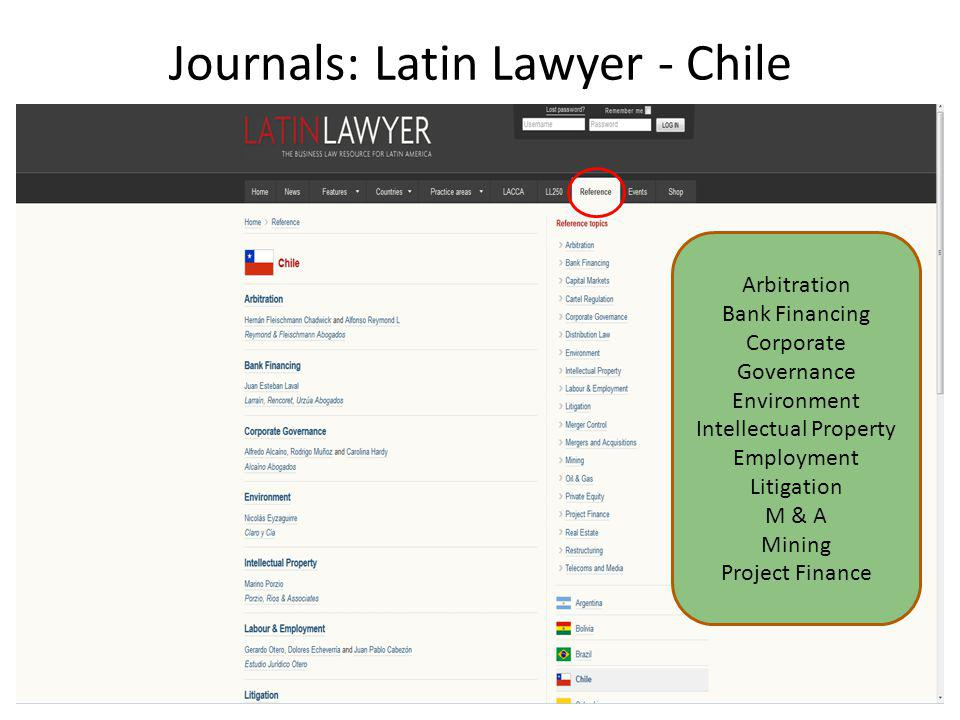 Journals: Latin Lawyer - Chile Arbitration Bank Financing Corporate Governance Environment Intellectual Property Employment Litigation M & A Mining Project Finance