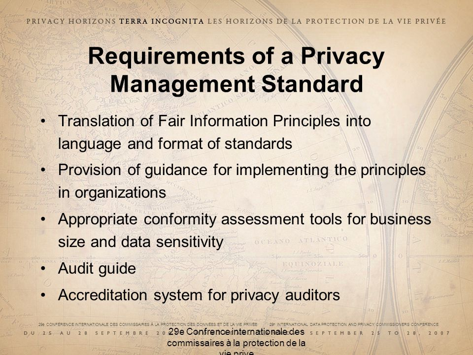 29e CONFÉRENCE INTERNATIONALE DES COMMISSAIRES À LA PROTECTION DES DONNÉES ET DE LA VIE PRIVÉE 29 th INTERNATIONAL DATA PROTECTION AND PRIVACY COMMISS