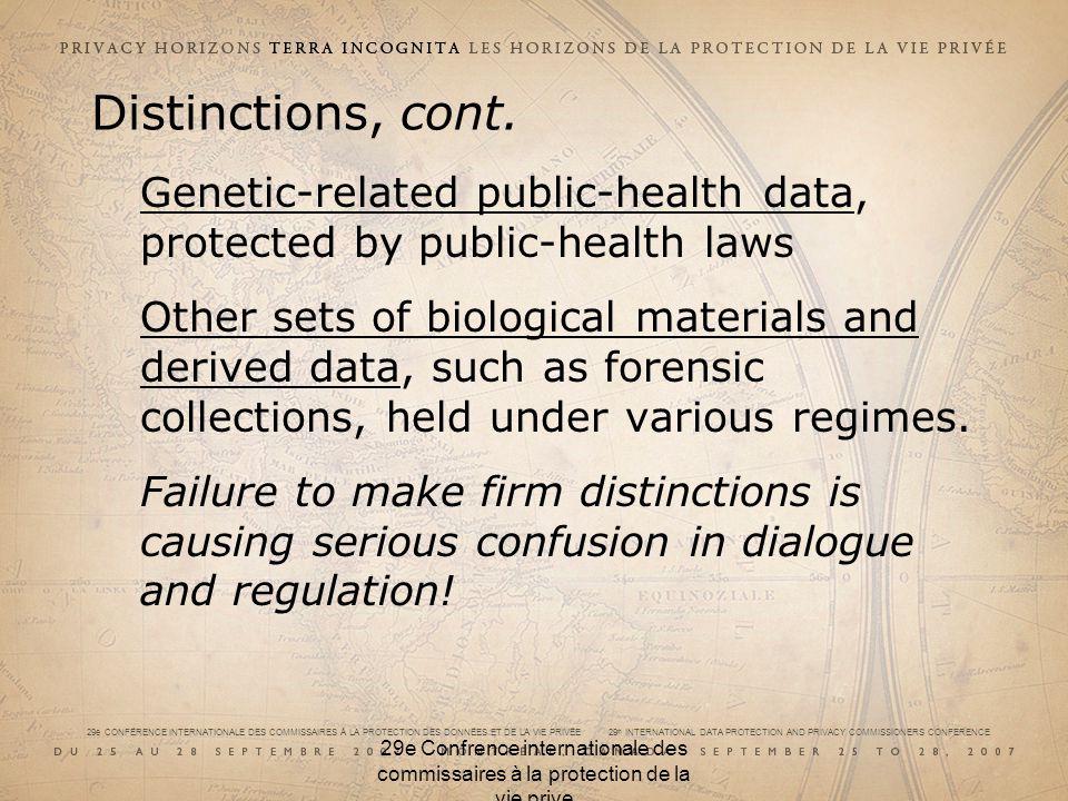 29e CONFÉRENCE INTERNATIONALE DES COMMISSAIRES À LA PROTECTION DES DONNÉES ET DE LA VIE PRIVÉE 29 th INTERNATIONAL DATA PROTECTION AND PRIVACY COMMISSIONERS CONFERENCE 29e Confrence internationale des commissaires à la protection de la vie prive Genetic/ genomic/ biobank exceptualism.