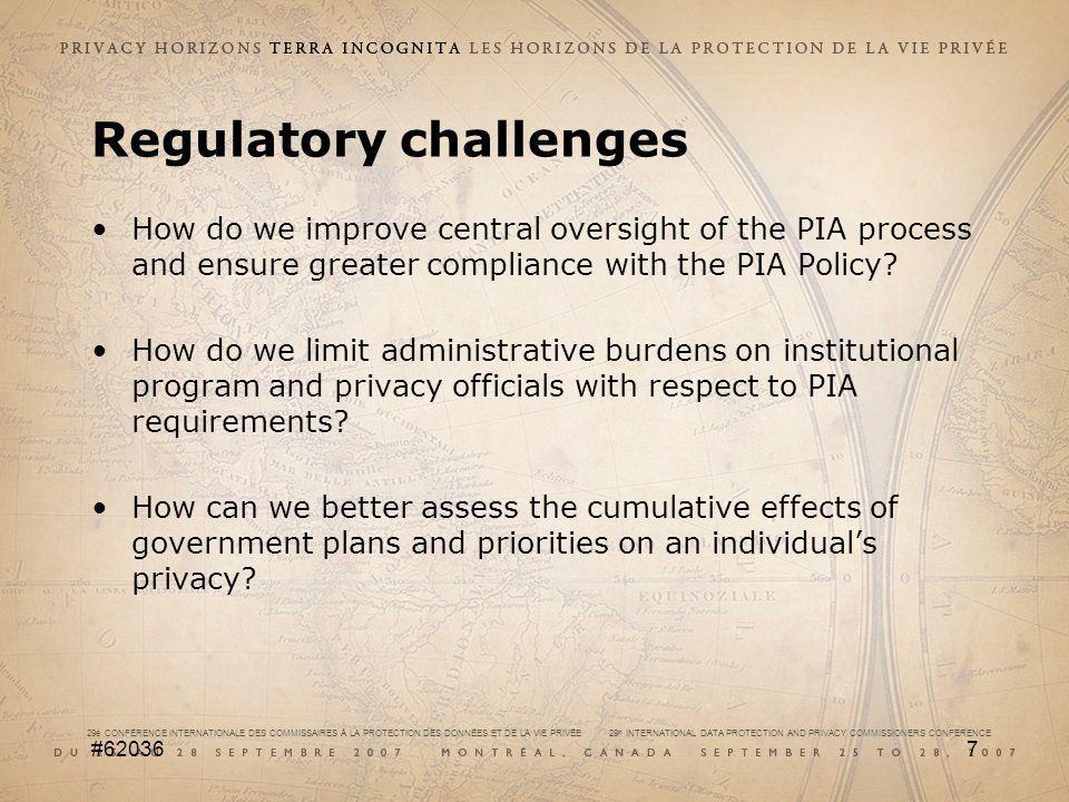 29e CONFÉRENCE INTERNATIONALE DES COMMISSAIRES À LA PROTECTION DES DONNÉES ET DE LA VIE PRIVÉE 29 th INTERNATIONAL DATA PROTECTION AND PRIVACY COMMISSIONERS CONFERENCE #620367 Regulatory challenges How do we improve central oversight of the PIA process and ensure greater compliance with the PIA Policy.
