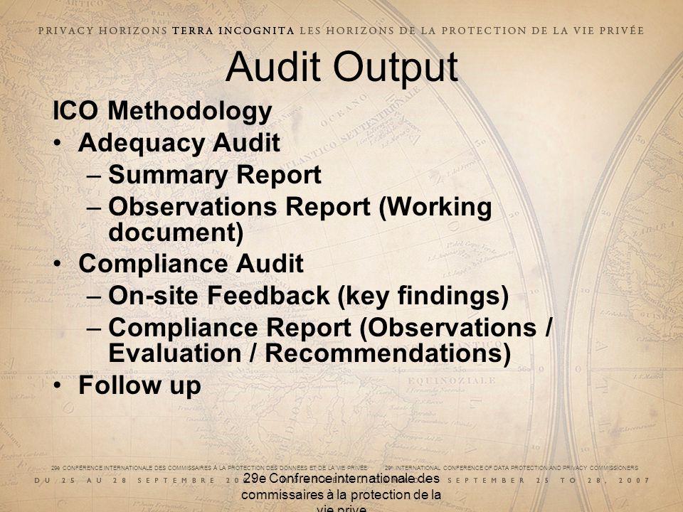 29e CONFÉRENCE INTERNATIONALE DES COMMISSAIRES À LA PROTECTION DES DONNÉES ET DE LA VIE PRIVÉE 29 th INTERNATIONAL CONFERENCE OF DATA PROTECTION AND PRIVACY COMMISSIONERS 29e Confrence internationale des commissaires à la protection de la vie prive Audit Output ICO Methodology Adequacy Audit –Summary Report –Observations Report (Working document) Compliance Audit –On-site Feedback (key findings) –Compliance Report (Observations / Evaluation / Recommendations) Follow up
