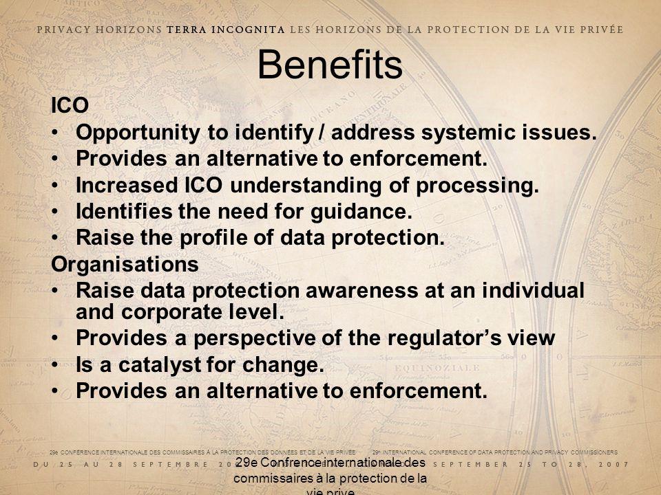 29e CONFÉRENCE INTERNATIONALE DES COMMISSAIRES À LA PROTECTION DES DONNÉES ET DE LA VIE PRIVÉE 29 th INTERNATIONAL CONFERENCE OF DATA PROTECTION AND PRIVACY COMMISSIONERS 29e Confrence internationale des commissaires à la protection de la vie prive Benefits ICO Opportunity to identify / address systemic issues.