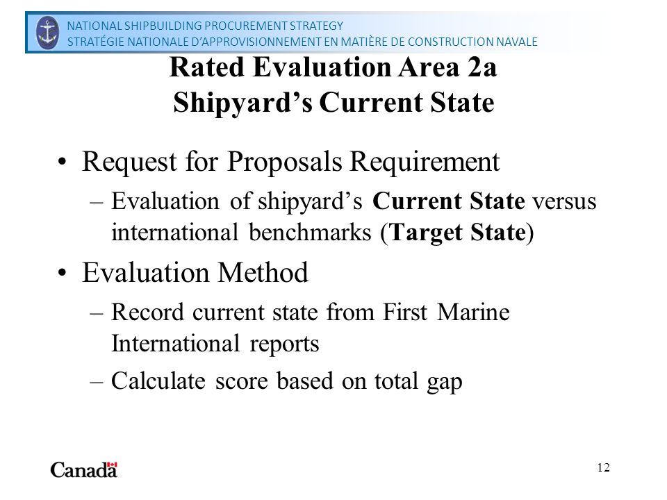 National Shipbuilding Procurement Strategy Secretariat Secrétariat de la stratégie nationale dapprovisionnement en matière de construction navale 12 Rated Evaluation Area 2a Shipyards Current State Request for Proposals Requirement –Evaluation of shipyards Current State versus international benchmarks (Target State) Evaluation Method –Record current state from First Marine International reports –Calculate score based on total gap NATIONAL SHIPBUILDING PROCUREMENT STRATEGY STRATÉGIE NATIONALE DAPPROVISIONNEMENT EN MATIÈRE DE CONSTRUCTION NAVALE