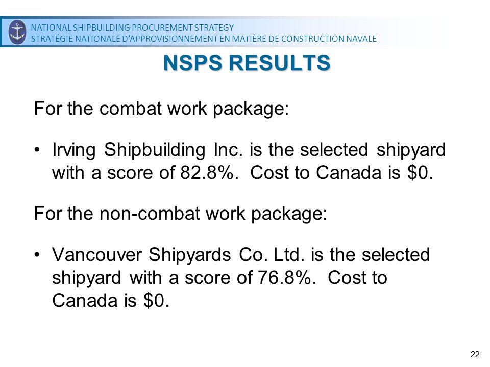 NATIONAL SHIPBUILDING PROCUREMENT STRATEGY STRATÉGIE NATIONALE DAPPROVISIONNEMENT EN MATIÈRE DE CONSTRUCTION NAVALE NATIONAL SHIPBUILDING PROCUREMENT