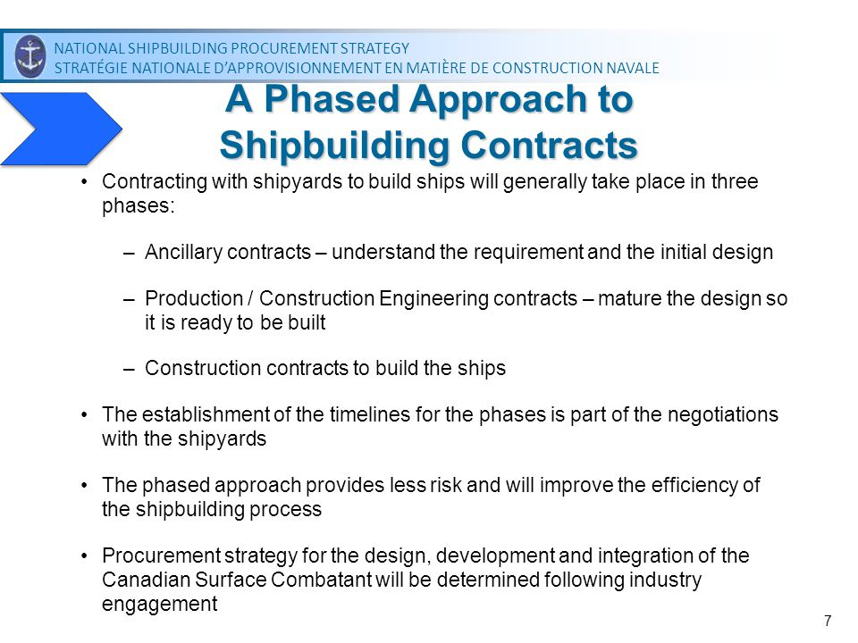 NATIONAL SHIPBUILDING PROCUREMENT STRATEGY STRATÉGIE NATIONALE DAPPROVISIONNEMENT EN MATIÈRE DE CONSTRUCTION NAVALE NATIONAL SHIPBUILDING PROCUREMENT STRATEGY STRATÉGIE NATIONALE DAPPROVISIONNEMENT EN MATIÈRE DE CONSTRUCTION NAVALE 7 Contracting with shipyards to build ships will generally take place in three phases: –Ancillary contracts – understand the requirement and the initial design –Production / Construction Engineering contracts – mature the design so it is ready to be built –Construction contracts to build the ships The establishment of the timelines for the phases is part of the negotiations with the shipyards The phased approach provides less risk and will improve the efficiency of the shipbuilding process Procurement strategy for the design, development and integration of the Canadian Surface Combatant will be determined following industry engagement A Phased Approach to Shipbuilding Contracts