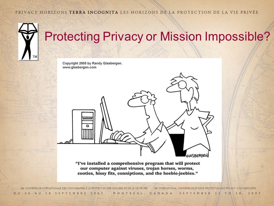 29e CONFÉRENCE INTERNATIONALE DES COMMISSAIRES À LA PROTECTION DES DONNÉES ET DE LA VIE PRIVÉE 29 th INTERNATIONAL CONFERENCE OF DATA PROTECTION AND PRIVACY COMMISSIONERS Protecting Privacy or Mission Impossible?