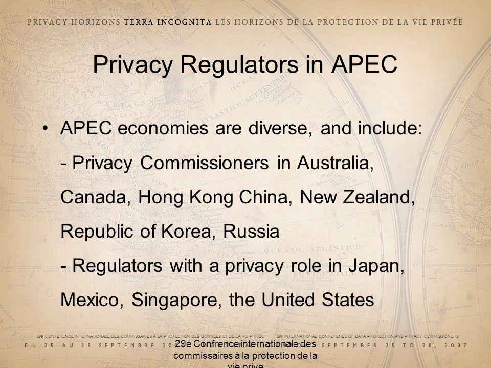 29e CONFÉRENCE INTERNATIONALE DES COMMISSAIRES À LA PROTECTION DES DONNÉES ET DE LA VIE PRIVÉE 29 th INTERNATIONAL CONFERENCE OF DATA PROTECTION AND PRIVACY COMMISSIONERS 29e Confrence internationale des commissaires à la protection de la vie prive The Role of Regulators Regulators ensure accountability, the key principle underpinning the CBPR system Encourage regulators to work with business, trustmarks and consumers Encouraging regulator co-operation and information exchange across borders