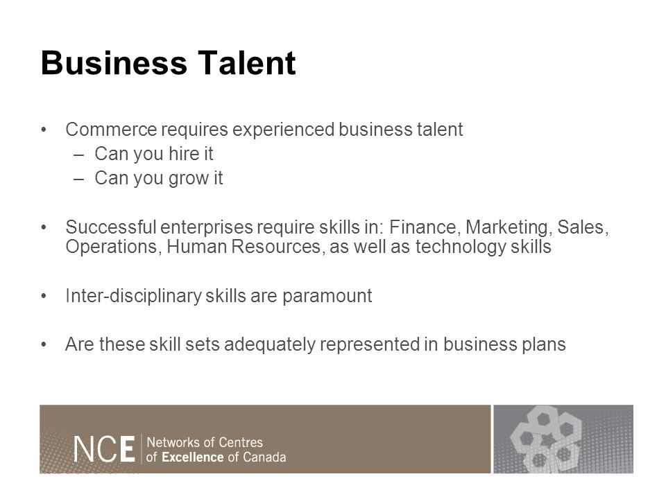 Business Talent Commerce requires experienced business talent –Can you hire it –Can you grow it Successful enterprises require skills in: Finance, Marketing, Sales, Operations, Human Resources, as well as technology skills Inter-disciplinary skills are paramount Are these skill sets adequately represented in business plans