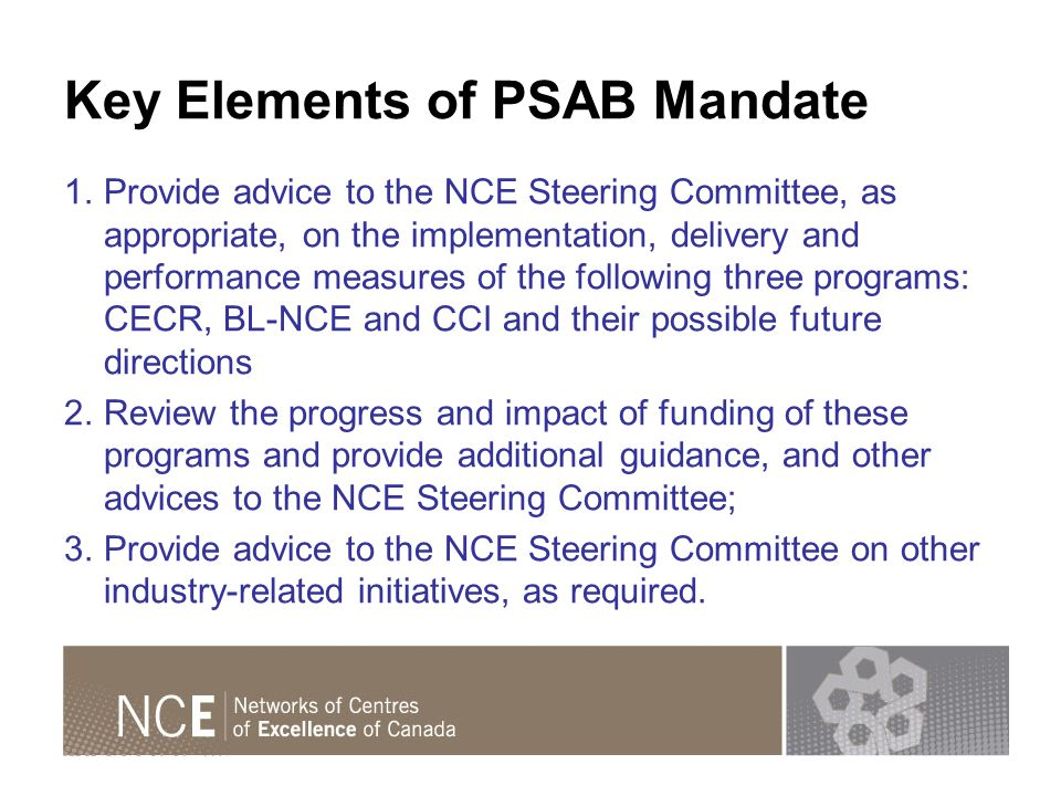 Key Elements of PSAB Mandate 1.Provide advice to the NCE Steering Committee, as appropriate, on the implementation, delivery and performance measures of the following three programs: CECR, BL-NCE and CCI and their possible future directions 2.Review the progress and impact of funding of these programs and provide additional guidance, and other advices to the NCE Steering Committee; 3.Provide advice to the NCE Steering Committee on other industry-related initiatives, as required.
