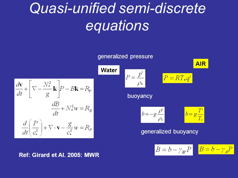 Quasi-unified semi-discrete equations AIR buoyancy generalized buoyancy generalized pressure Water Ref: Girard et Al.