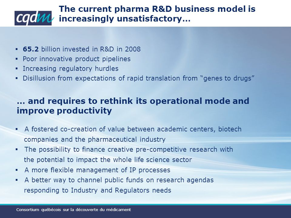 Consortium québécois sur la découverte du médicament The current pharma R&D business model is increasingly unsatisfactory… … and requires to rethink its operational mode and improve productivity 65.2 billion invested in R&D in 2008 Poor innovative product pipelines Increasing regulatory hurdles Disillusion from expectations of rapid translation from genes to drugs A fostered co-creation of value between academic centers, biotech companies and the pharmaceutical industry The possibility to finance creative pre-competitive research with the potential to impact the whole life science sector A more flexible management of IP processes A better way to channel public funds on research agendas responding to Industry and Regulators needs