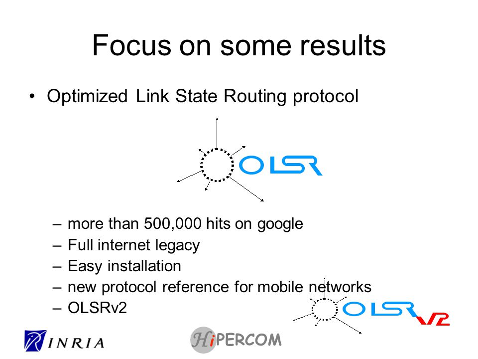 PERCOM i H Beyond OLSR and Internet Opportunistic routing in random field Delay Tolerant routing Network coding