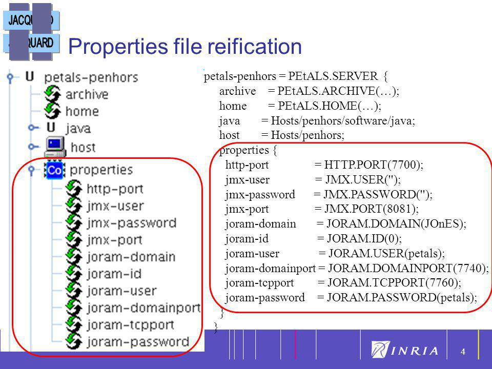 4 4 Properties file reification petals-penhors = PEtALS.SERVER { archive = PEtALS.ARCHIVE(…); home = PEtALS.HOME(…); java = Hosts/penhors/software/jav
