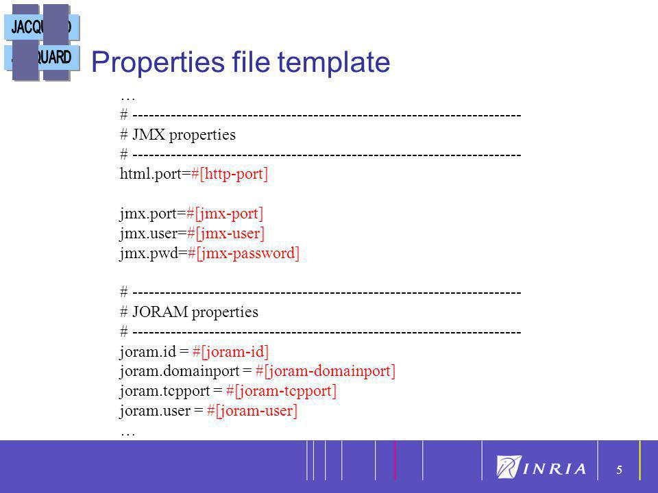 5 5 Properties file template … # ----------------------------------------------------------------------- # JMX properties # --------------------------
