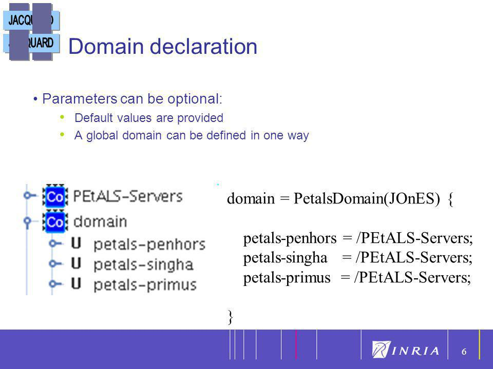 6 6 Domain declaration domain = PetalsDomain(JOnES) { petals-penhors = /PEtALS-Servers; petals-singha = /PEtALS-Servers; petals-primus = /PEtALS-Serve