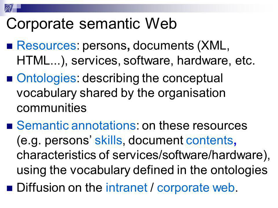 Corporate semantic Web Resources: persons, documents (XML, HTML...), services, software, hardware, etc. Ontologies: describing the conceptual vocabula