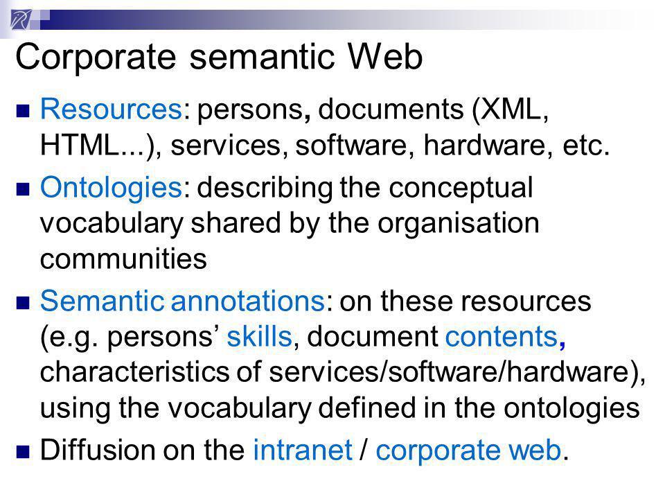 CORESE CORESE semantic search engine Ontologies Documents XML 19 Mai 2000 le facteur Legacy sys.