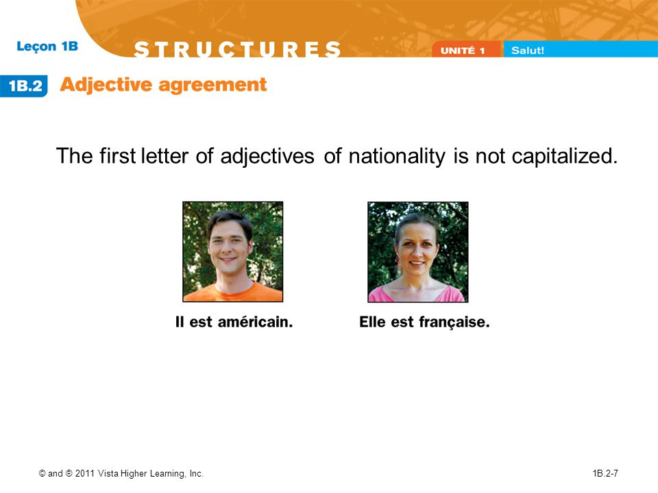 © and ® 2011 Vista Higher Learning, Inc.1B.2-7 The first letter of adjectives of nationality is not capitalized.