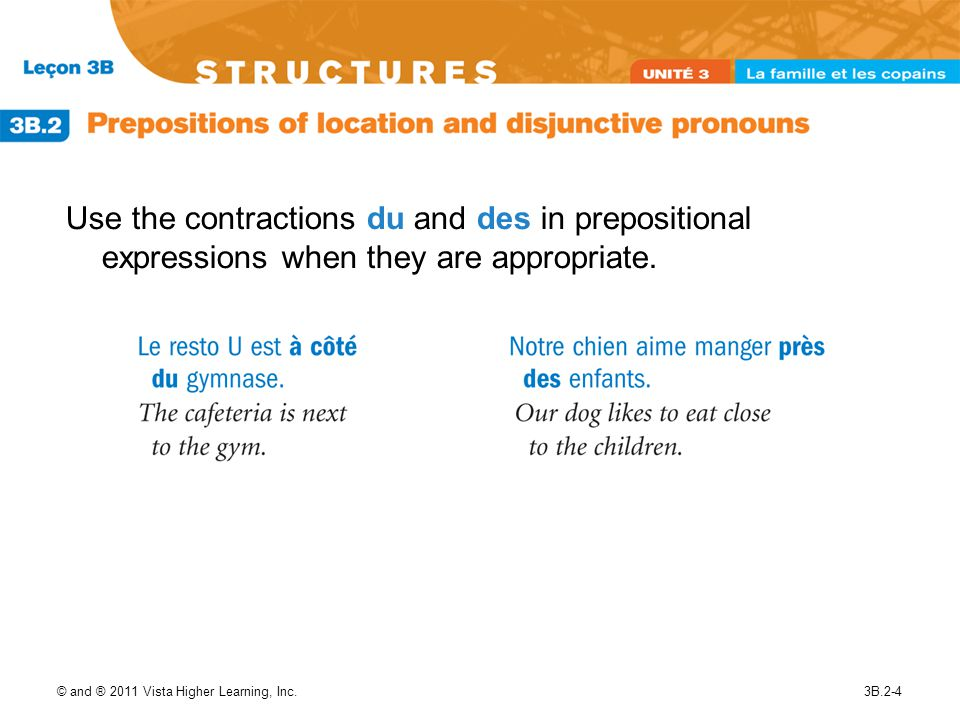 © and ® 2011 Vista Higher Learning, Inc.3B.2-5 You can further modify prepositions of location by using intensifiers such as tout (very, really) and juste (just, right).