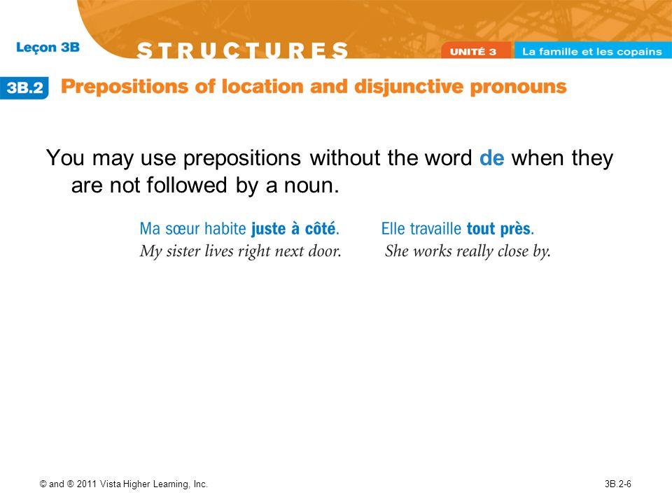 © and ® 2011 Vista Higher Learning, Inc.3B.2-7 The preposition chez has no exact English equivalent.