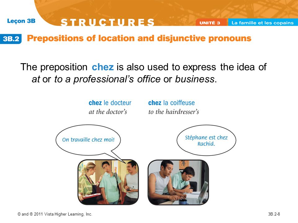 © and ® 2011 Vista Higher Learning, Inc.3B.2-9 Use disjunctive pronouns after prepositions instead of subject pronouns: