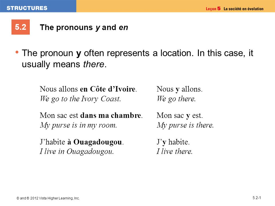 5.2 © and ® 2012 Vista Higher Learning, Inc. 5.2-1 The pronouns y and en The pronoun y often represents a location. In this case, it usually means the