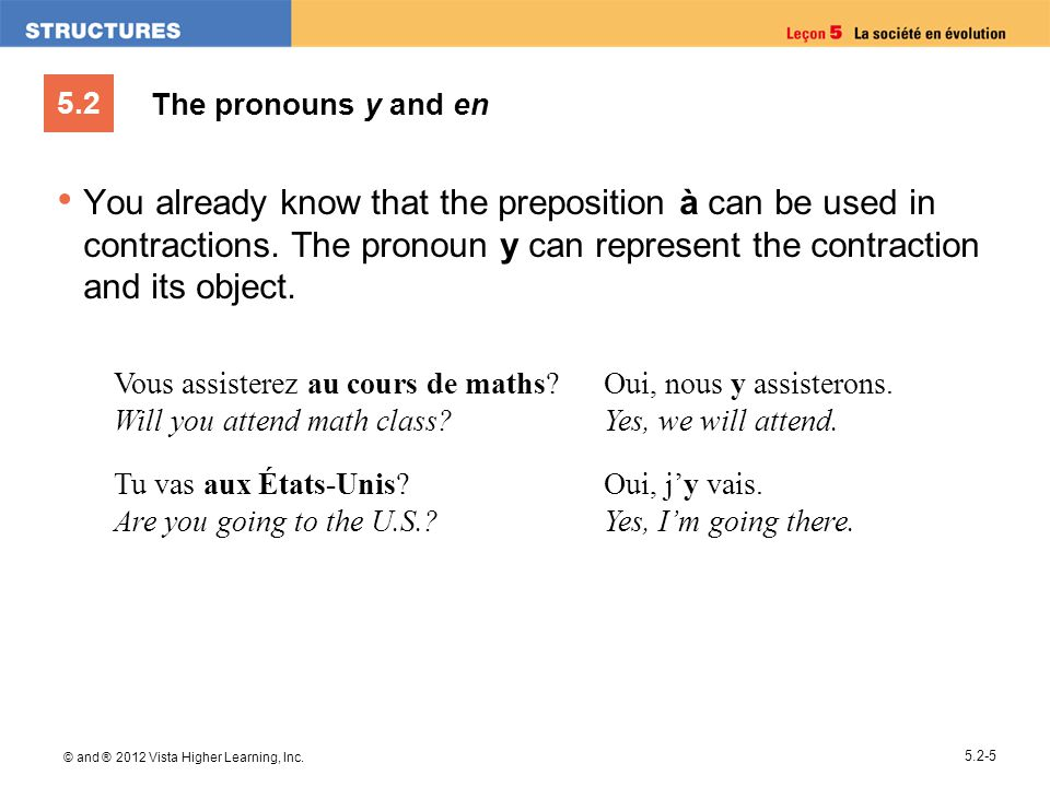 5.2 © and ® 2012 Vista Higher Learning, Inc. 5.2-5 The pronouns y and en You already know that the preposition à can be used in contractions. The pron