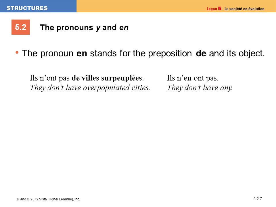 5.2 © and ® 2012 Vista Higher Learning, Inc. 5.2-7 The pronouns y and en The pronoun en stands for the preposition de and its object. Ils nont pas de