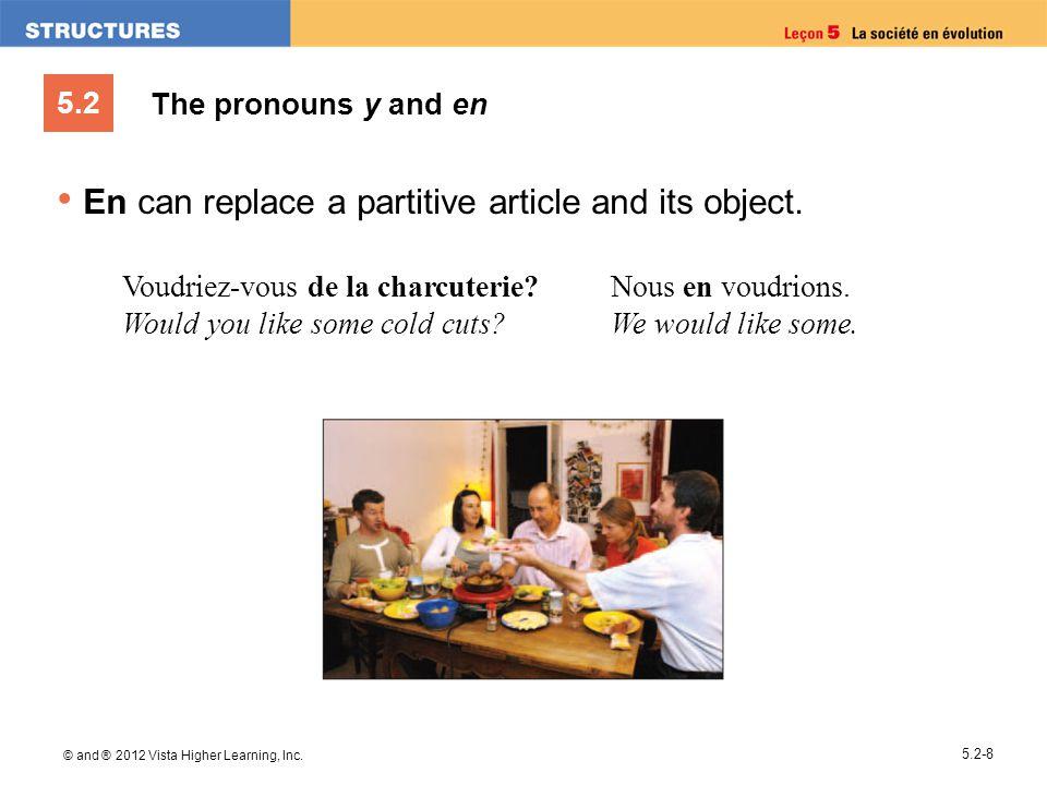 5.2 © and ® 2012 Vista Higher Learning, Inc. 5.2-8 The pronouns y and en En can replace a partitive article and its object. Voudriez-vous de la charcu