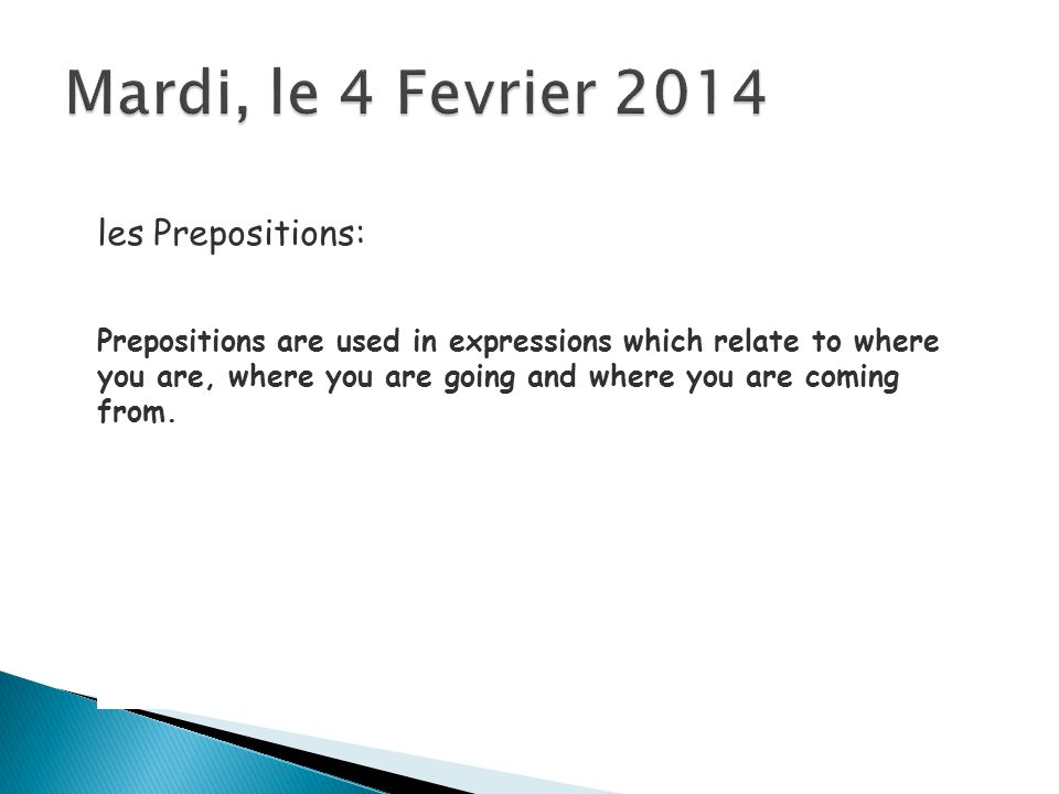 The preposition used in such expressions depends on the geographic location discussed.