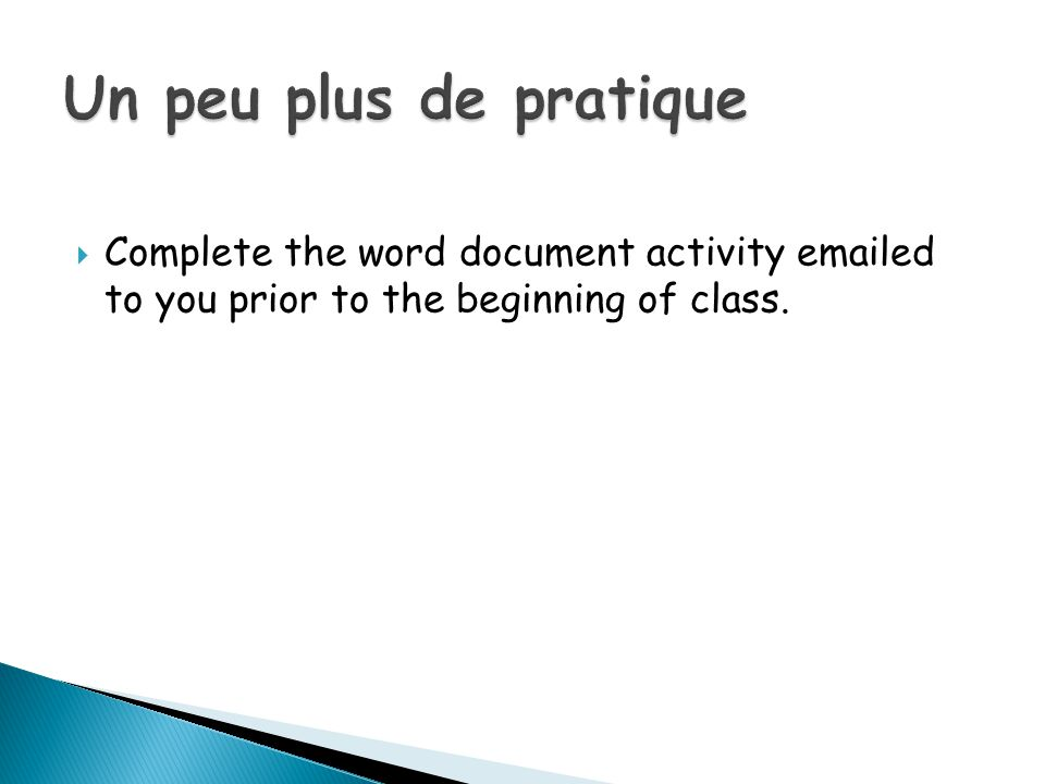 Complete the word document activity emailed to you prior to the beginning of class.