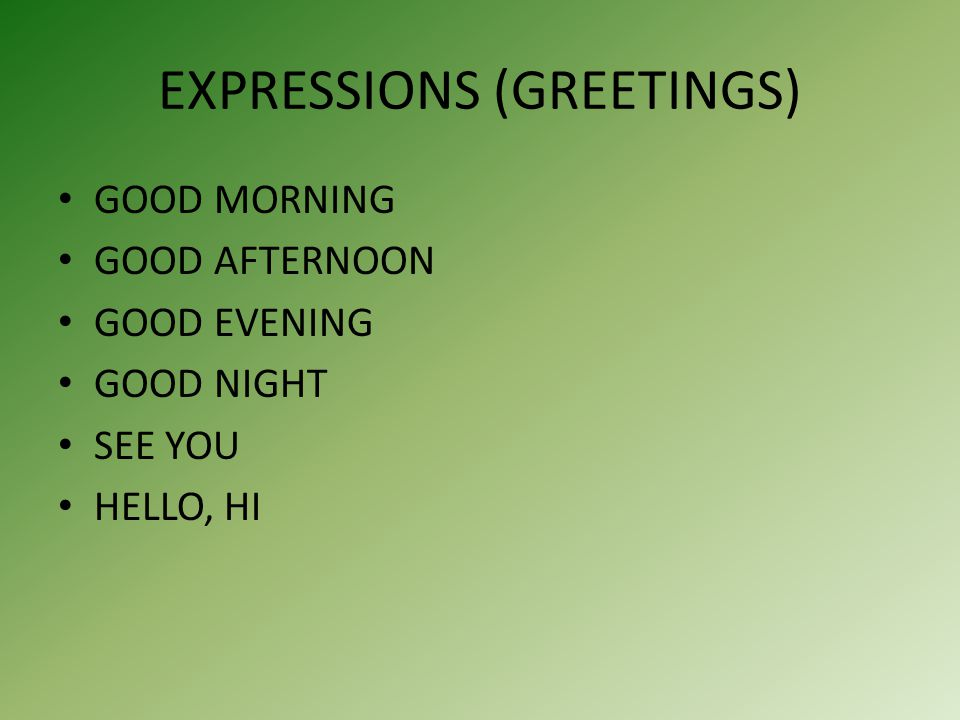 EXPRESSIONS (GREETINGS) GOOD MORNING GOOD AFTERNOON GOOD EVENING GOOD NIGHT SEE YOU HELLO, HI