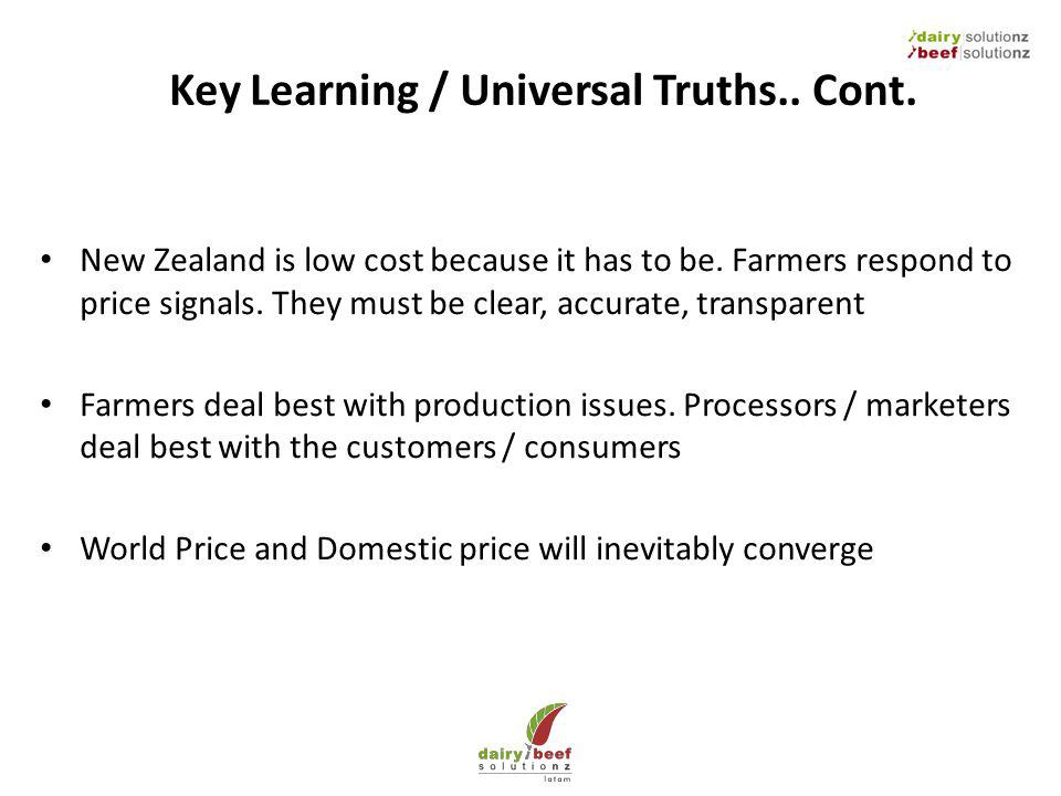 Key Learning / Universal Truths.. Cont. New Zealand is low cost because it has to be. Farmers respond to price signals. They must be clear, accurate,