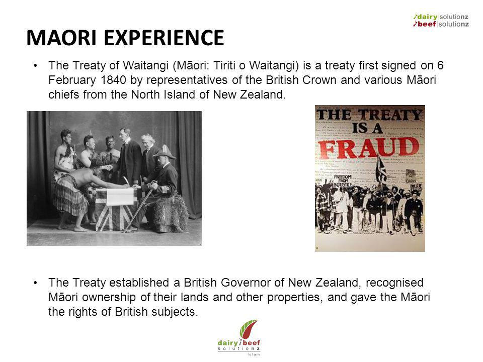 MAORI EXPERIENCE The Treaty of Waitangi (Māori: Tiriti o Waitangi) is a treaty first signed on 6 February 1840 by representatives of the British Crown and various Māori chiefs from the North Island of New Zealand.