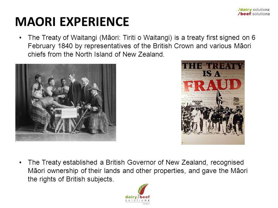 MAORI EXPERIENCE The Treaty of Waitangi (Māori: Tiriti o Waitangi) is a treaty first signed on 6 February 1840 by representatives of the British Crown